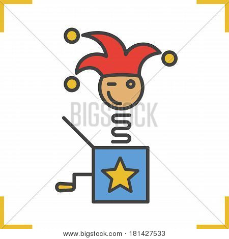 Jack in the box color icon. Winking clown. Jester toy. Isolated vector illustration