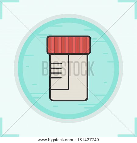 Medical tests jar color icon. Ointment container. Isolated vector illustration