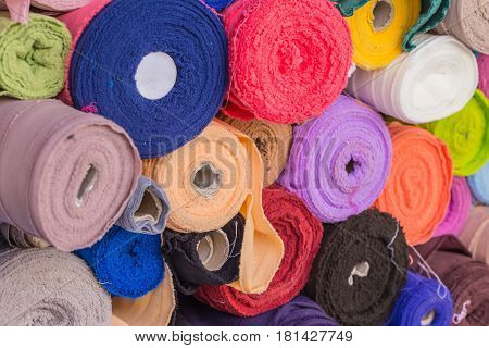 Colorful Roll Of Cotton Fabrics Sale In The Market, Textile Industry.
