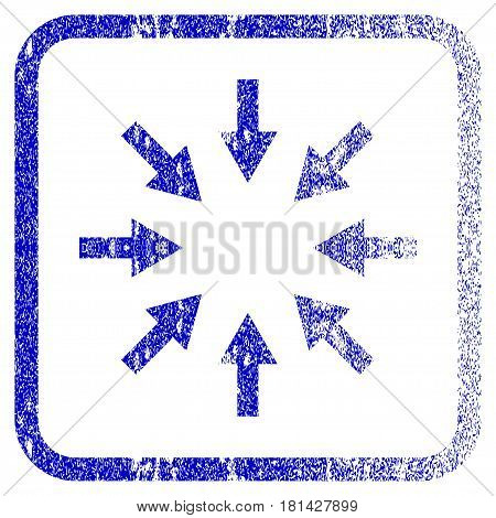 Compact Arrows textured icon for overlay watermark stamps. Blue vectorized texture. Flat vector symbol with scratched design inside rounded square frame. Framed blue rubber seal stamp imitation.