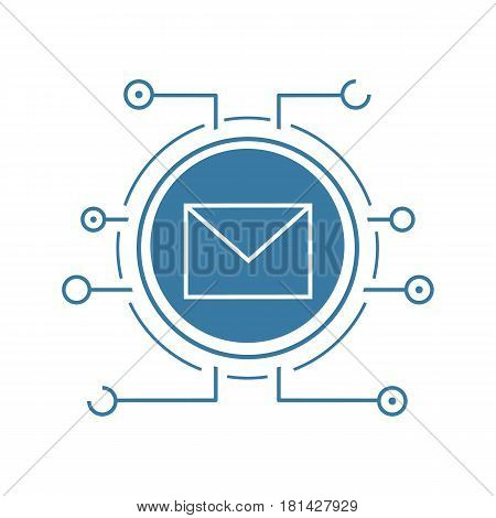 Email security flat linear long shadow icon. Sms message. Email letter with microchip pathways. Vector line symbol