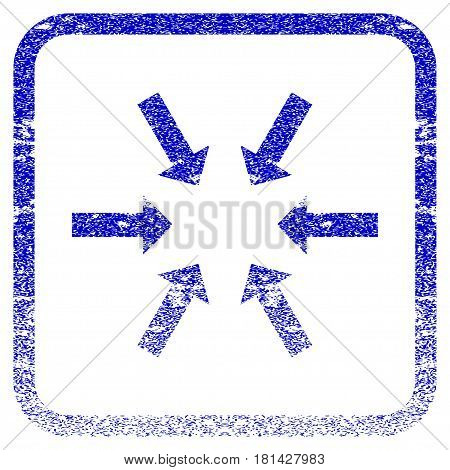 Compact Arrows textured icon for overlay watermark stamps. Blue vectorized texture. Flat vector symbol with dirty design inside rounded square frame. Framed blue rubber seal stamp imitation.