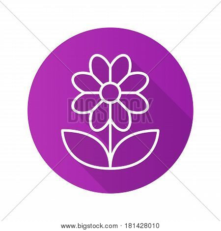 Camomile flat linear long shadow icon. Flower. Vector line symbol