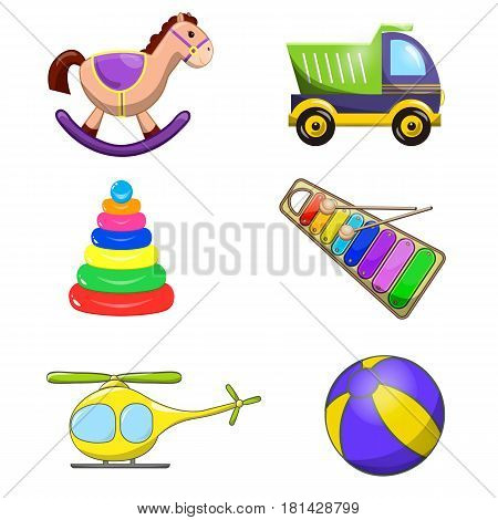 Decorative children toys set of horse ball rainbow xylophone pyramid helicopter truck isolated vector illustration. Colorful cartoon Illustration.