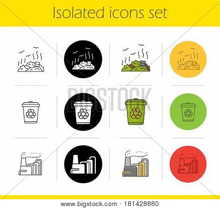 Waste management icons set. Linear, black and color styles. Recycle bin, rubbish dump, factory pollution. Environment protection. Isolated vector illustrations