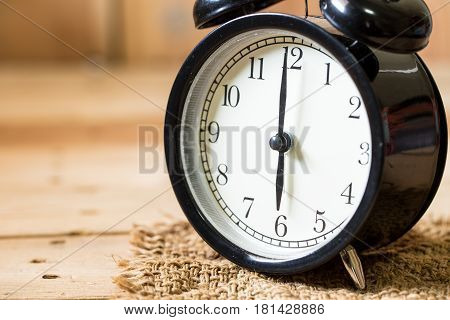 Closeup Clock Face Morning At 6 O'clock, Vintage Clock Composition For Text