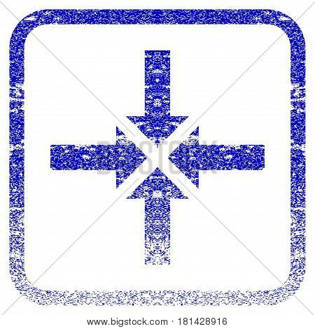 Compress Arrows textured icon for overlay watermark stamps. Blue vectorized texture. Flat vector symbol with dust design inside rounded square frame. Framed blue rubber seal stamp imitation.