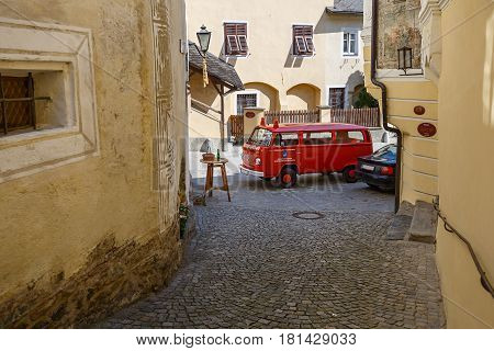 WEISSENKIRCHEN-IN-DER-WACHAU/ AUSTRIA - APRIL 1, 2017. Fire vehicle on the street in market town of Weissenkirchen-in-der-Wachau. Wachau-Valley, district of Krems-Land, Lower Austria.