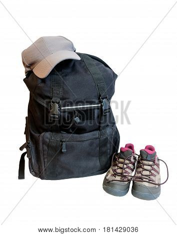 Backpack cap and shoes backpackers isolated on white background
