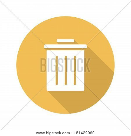 Trashcan flat design long shadow icon. Dustbin. Trash bin. Vector silhouette symbol