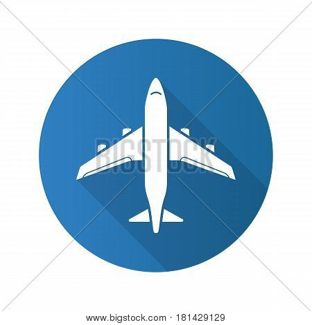 Plane flat design long shadow icon. Airplane flight arrival. Vector silhouette symbol