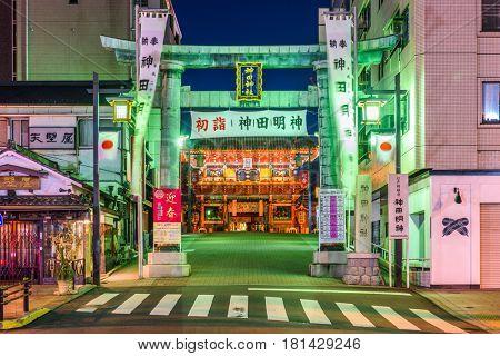 January 13, 2017: Kanda Shrine at night. The shrine's history dates to the year 730.