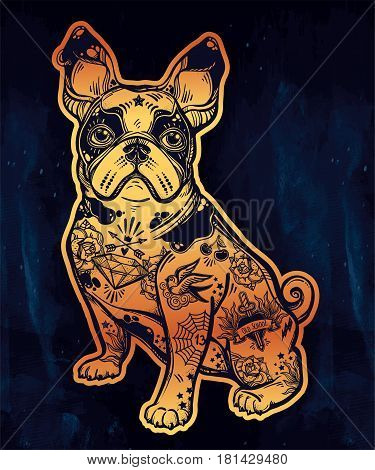 Vintage style beautiful bulldog or pug dog with body decorated in flash art tattoos. Character tattoo design for dog pet lovers, artwork for print and textiles. Isolated vector illustration.