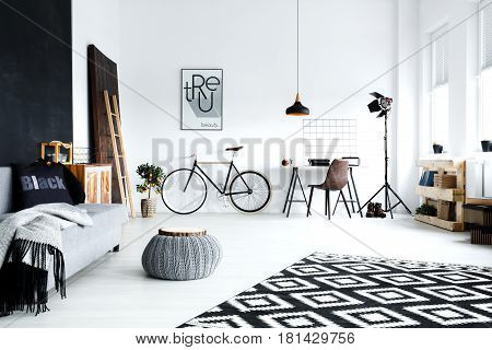 Open Plan, White Studio Flat
