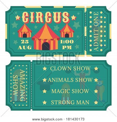 Color Circus tickets icon. flat style isolated in white background