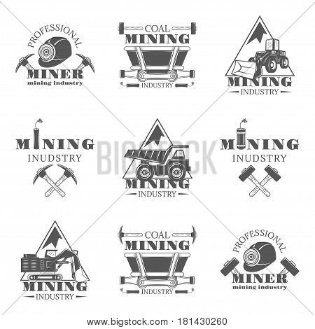 Mining industry set of vector monochrome vintage emblems, labels, badges and logos isolated on white background. Mining industry, professional machinerie, coal mining design elements