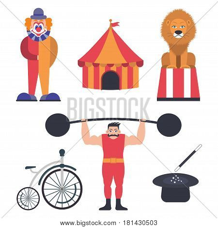 Set of circus color icons, design elements isolated on white background, flat style