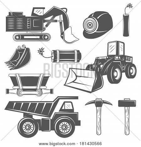 Set of icons Mining industry in monochrome vintage style with professional tools and machineries isolated on white background