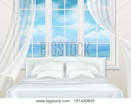 Bed near window with a view of the seascape. Bedroom in the apartment building or hotel room.
