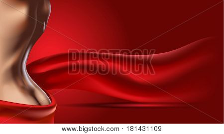 Red background with woman body. Skin care or ads template. 3D Realistic Woman silhouette illustration. Pastel Nude color