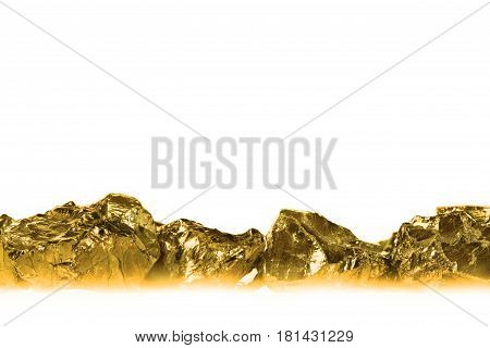 Golden nuggets isolated on white background close up