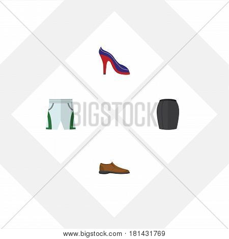 Flat Garment Set Of Heeled Shoe, Male Footware, Trunks Cloth And Other Vector Objects. Also Includes Shoes, Shoe, Man Elements.