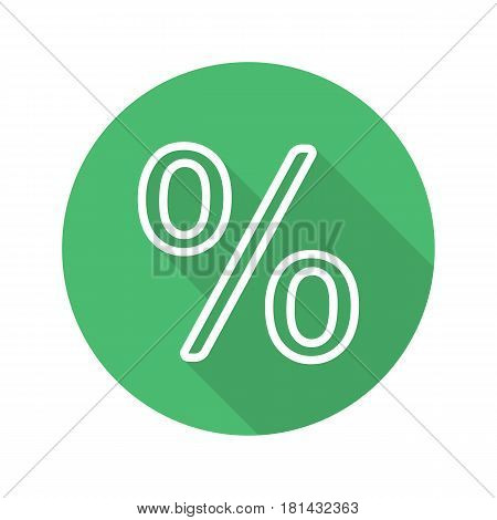 Percent sign. Flat linear long shadow icon. Percentage. Shop discount symbol. Vector line symbol