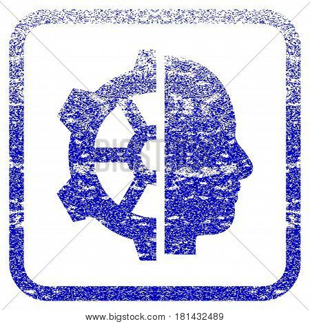 Cyborg Gear textured icon for overlay watermark stamps. Blue vectorized texture. Flat vector symbol with scratched design inside rounded square frame. Framed blue rubber seal stamp imitation.