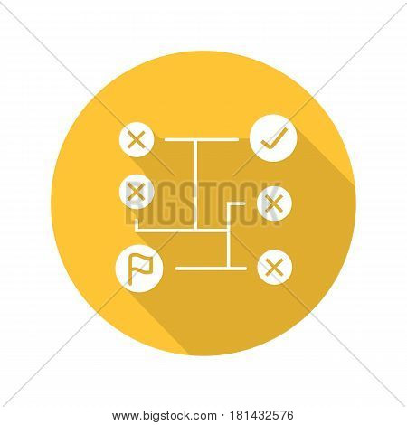 Problem solving flat design long shadow icon. Decision making. Vector silhouette symbol