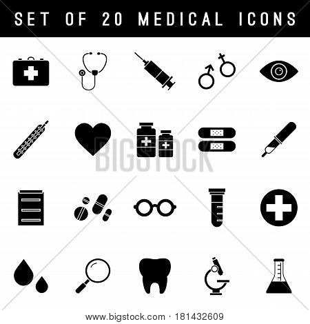Flat monochrome medical icon set of medicine tools and services. Isolated black medical icon set on white background. Minimal vector medical icon set for web sites and apps.