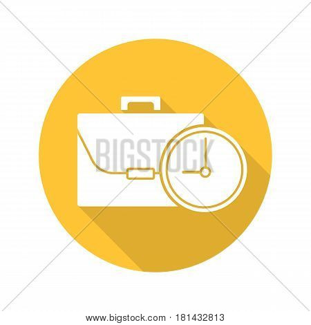 Work time flat design long shadow icon. Business briefcase with clock. Vector silhouette symbol
