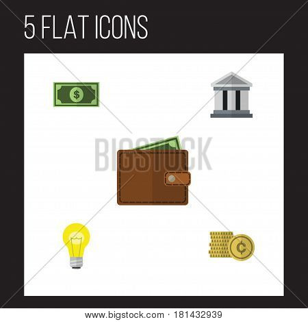 Flat Gain Set Of Bank, Bubl, Billfold And Other Vector Objects. Also Includes Wallet, Billfold, Money Elements.