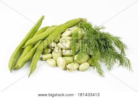 Fresh Vegetables: Vicia Faba on white background