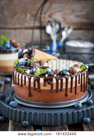 Delicious three chocolate mousse cake decorated with waffle cone fresh blueberry mint candies and frosting