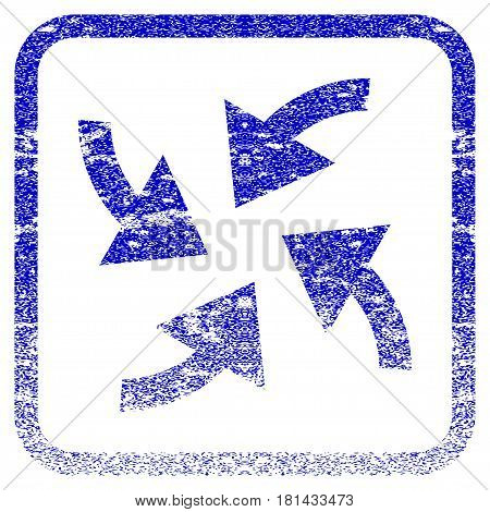 Cyclone Arrows textured icon for overlay watermark stamps. Blue vectorized texture. Flat vector symbol with scratched design inside rounded square frame. Framed blue rubber seal stamp imitation.