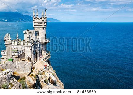 CRIMEA - MAY 18 2016: The famous castle Swallow's Nest on the rock in the Black Sea. This castle is a symbol of Crimea.