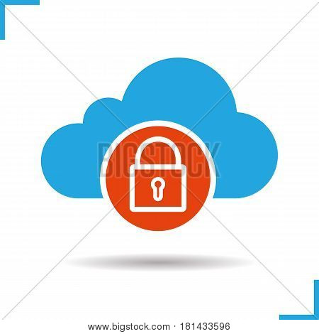 Cloud storage access denied icon. Drop shadow silhouette symbol. Cloud computing. Security. Negative space. Vector isolated illustration