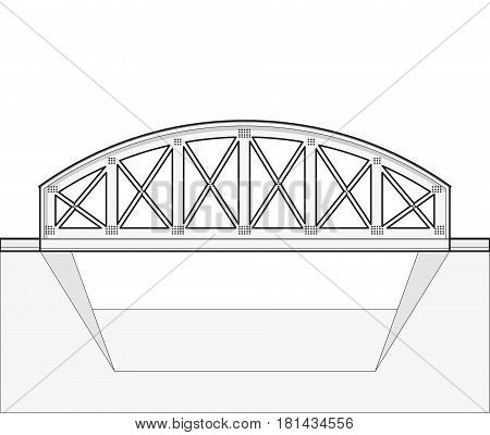 Vector arched train bridge in side view and isolated on white background. Industrial transportation building. Metallic bridge architecture. Outlined railway arc bridge. Assembled bridge construction.