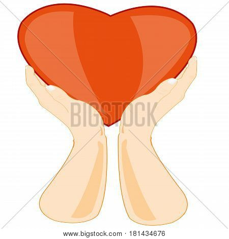 Hands of the person with symbol heart on white background