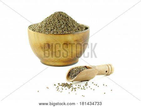 Perilla frutescens or sesame in wood spoon with wood bowl on white background.