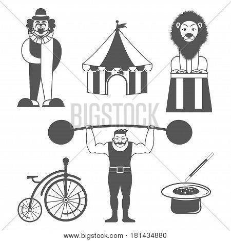 Set of circus monochrome icons . Design elements for logo, label, emblem. vintage style