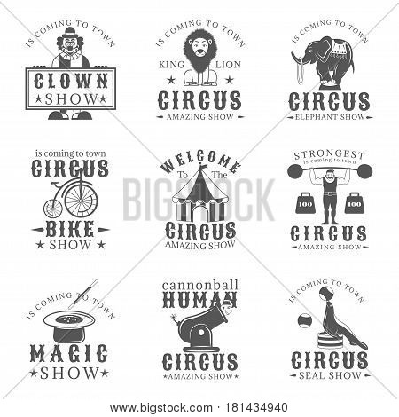 Set of circus vintage emblems, labels, badges and logos in monochrome style on white background. Amazing show, strong man, animals show, magic show, human cannonball, clown show design elements
