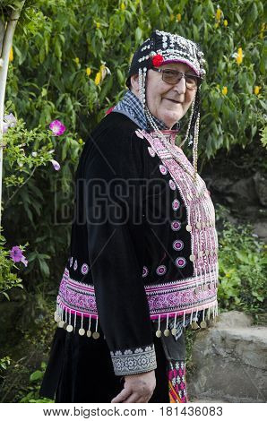 Old Man German People Change And Wearing Costume Traditional Of Ethnic Hmong For Take Photo At Doi P