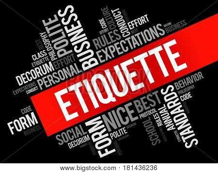 Etiquette word cloud collage social business concept on blackboard