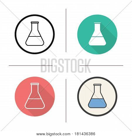 Laboratory flask icon. Flat design, linear and color styles. Science lab beaker with liquid. Isolated vector illustrations