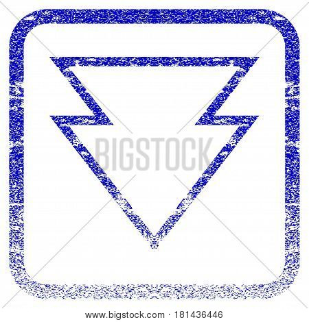 Direction Down textured icon for overlay watermark stamps. Blue vectorized texture. Flat vector symbol with scratched design inside rounded square frame. Framed blue rubber seal stamp imitation.