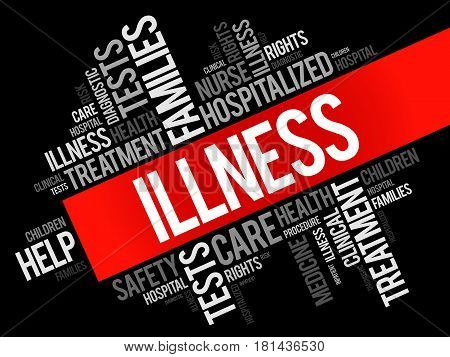 ILLNESS word cloud collage health concept background