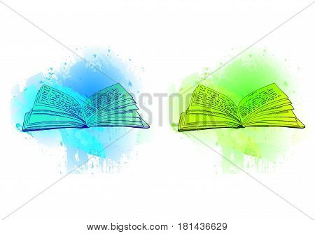 VECTOR opened books on abstract blue and green spots, illustrations isolated on white