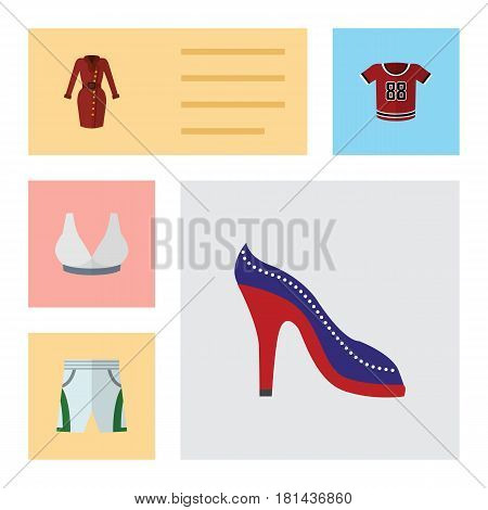 Flat Garment Set Of T-Shirt, Brasserie, Clothes And Other Vector Objects. Also Includes Clothes, Uniform, Blouse Elements.