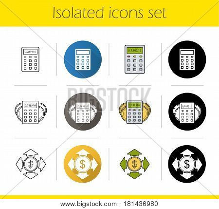 Banking and finance icons set. Flat design, linear, black and color styles. Calculator, dollar coin, money spending, income calculations. Personal financial planning. Isolated vector illustrations